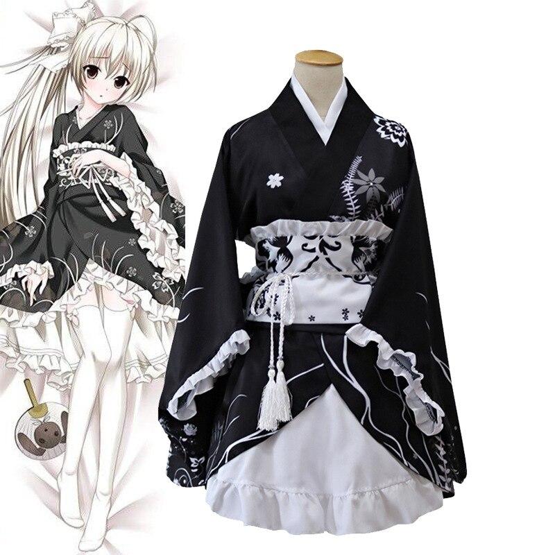 Japonais femmes Kimono Yukata avec Obi Performance danse robe jeune fille doux Cosplay Costume dame Satin imprimé scène Costume
