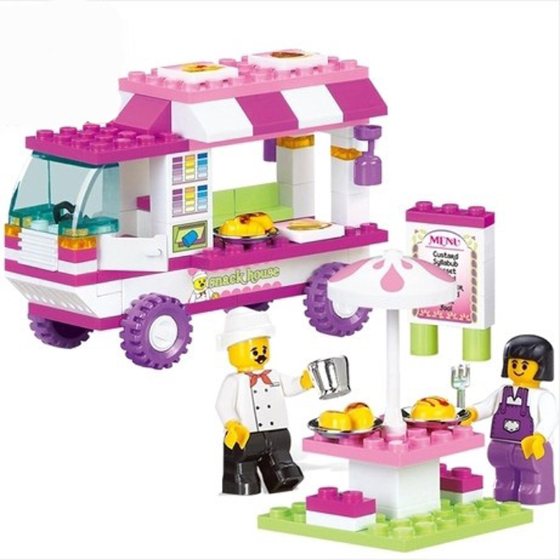 Sluban 0155 Girls Snack Car Vans Building Bricks Blocks Set Christmas Gift Toys For Children Compatible With Friends Snack House 2017 hot sale girls city dream house building brick blocks sets gift toys for children compatible with lepine friends