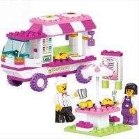 Sluban Girls Snack Car Vans Building Blocks Vehicle Model 102pcs Set Christmas Gifts Toys For Children
