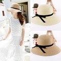 Женщины лето шляпа складной соломенные шляпы солнца шляпа пляж головные уборы Chapeu Feminino Camel Beige