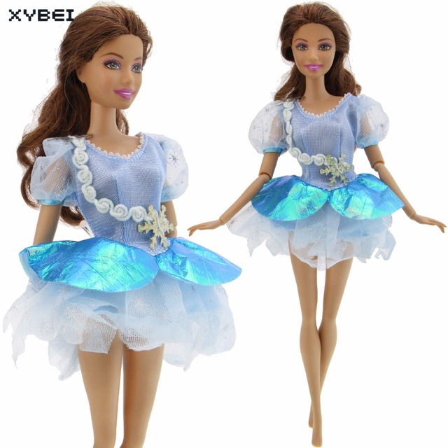 Buatan Tangan Renda Gaun Pesta Pernikahan Gaun Pola Kepingan Salju Mini Rok  Putri Pakaian untuk Boneka 6558e39340