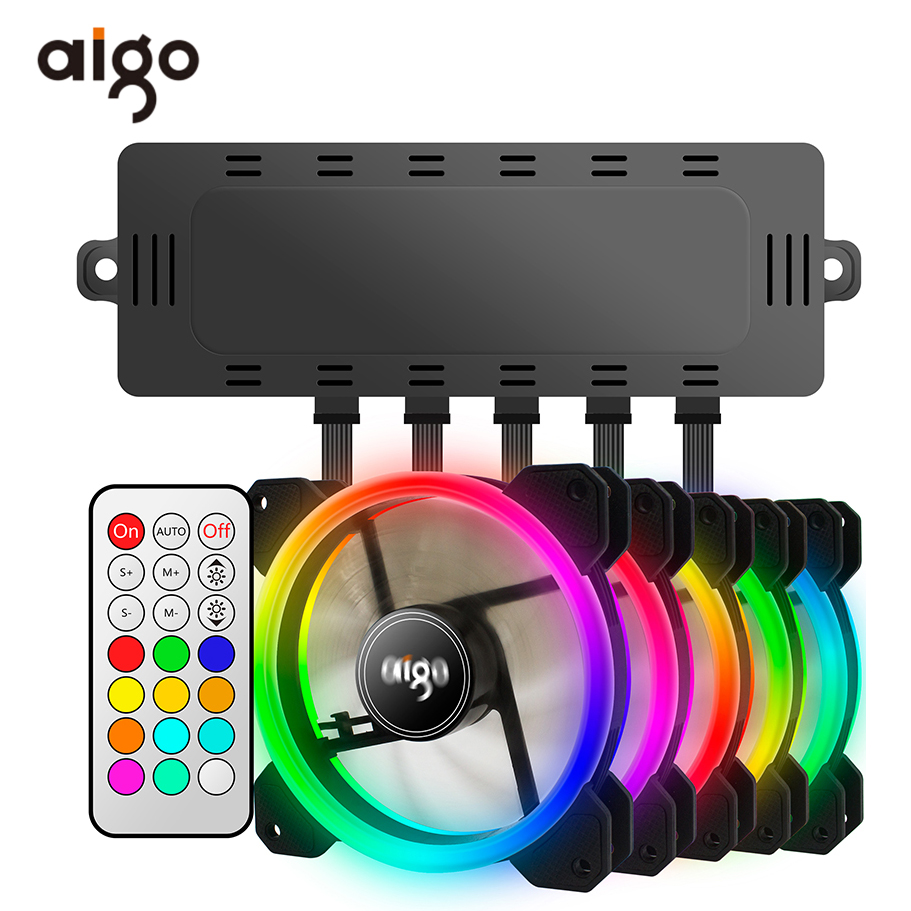 Aigo DR12 Double Aura RGB Pc Fan 12v 6 Pin 120mm Cooling Fan For Computer Silent Gaming Case Cooler Fan With Controller am3 am4 compuer fan cooler 120 120mm 3000prm 4 pin 12v dc pc computer computer case cooling fan