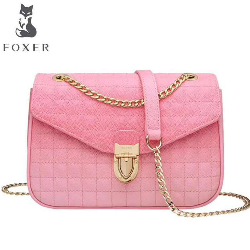 FOXER high quality rhombic chain small bag female 2019 new Messenger bag tide fashion wild leather shoulder bagFOXER high quality rhombic chain small bag female 2019 new Messenger bag tide fashion wild leather shoulder bag