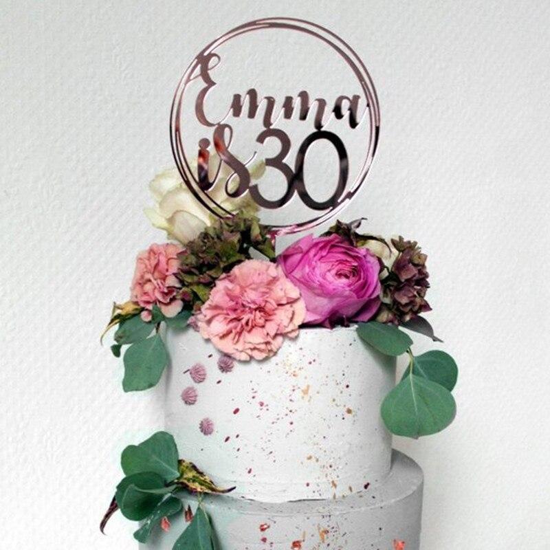 Personalised Birthday Cake Topper Acrylic Rose Gold Custom Name