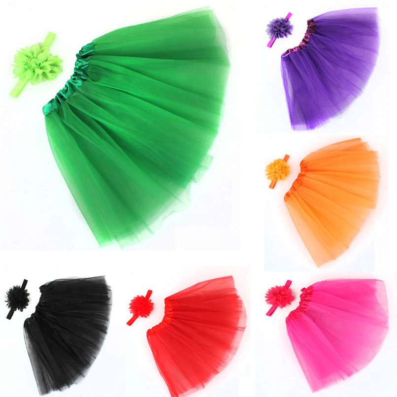 Girls Clothes Kids Girls Skirt Toddler Baby Kids Girls Solid Tutu Skirt+Flower Headband Set Party Dance Clothes jupe fille D25 (5)