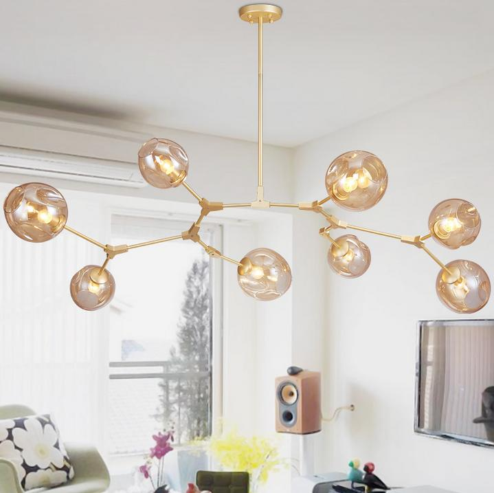 Glass Ball Branching Bubble Pendant Chandeliers For Dining