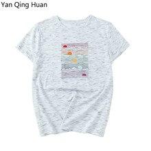 Yan Qing Huan Fashion Sea Sunset Striped Print Harajuku Womens Tees Summer Casual Comfortable Cotton Short-sleeved Tops T-shirt