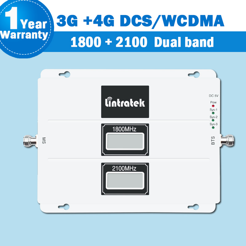 Lintratek 3G 4G WCDMA DCS LTE Signal Dual Band Repeater Amplifier LCD Display 1800 2100 Mobile