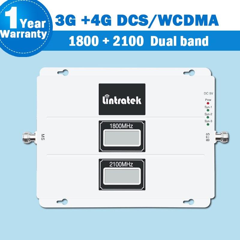 Lintratek 3g 4g WCDMA/DCS/LTE Amplificador de Sinal Dual Band Repetidor Lcd 1800/2100 Do Telefone Móvel sinal celular Impulsionador S26