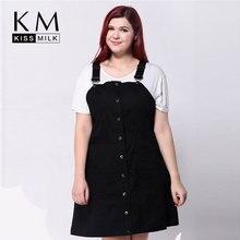 Kissmilk Plus Size 2017 New Fashion Women  Solid Color Slim Big Large Size Suspenders A-Line Dress 3XL 4XL 5XL 6XL