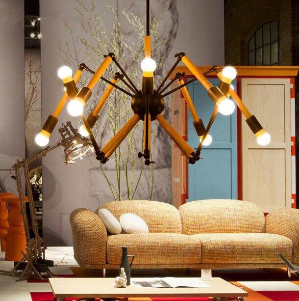 2018 Hot Sale Nordic Simple Cafe Clothing Store Bar Expansion Spider Chandelier Hanging Light Adjust Wood Bed Room Ceiling Lamp