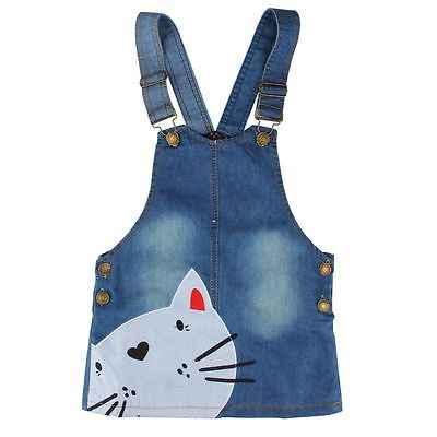 2017 New Cute Cat Baby Kids Girls Toddler Denim Jeans Overalls Sleeveless Dress Clothes 2-7Y SS