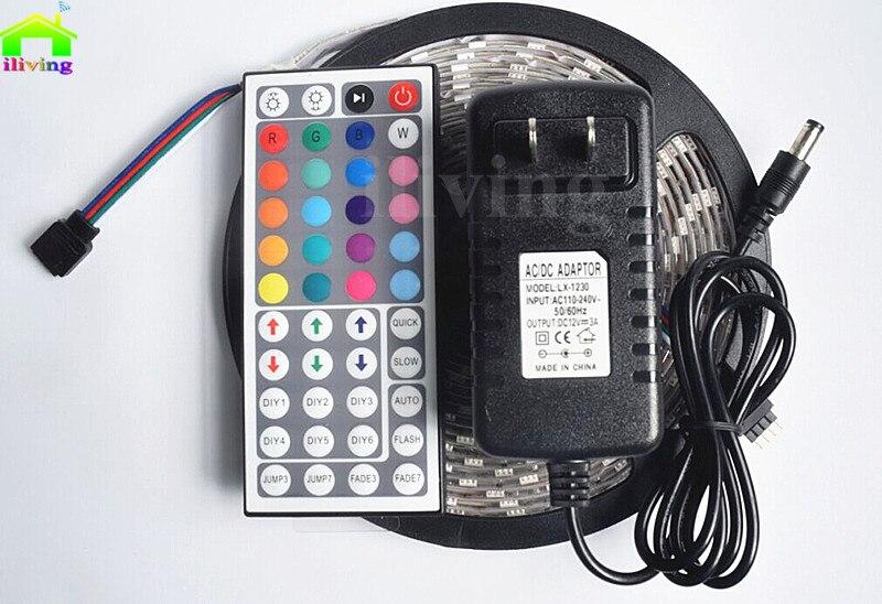 5M 5050 LED Strip 300Led SMD RGB Ribbon Lamp DC12V flexible light 44key IR Controller 3A Adapter Power Full Set Tape Lighting