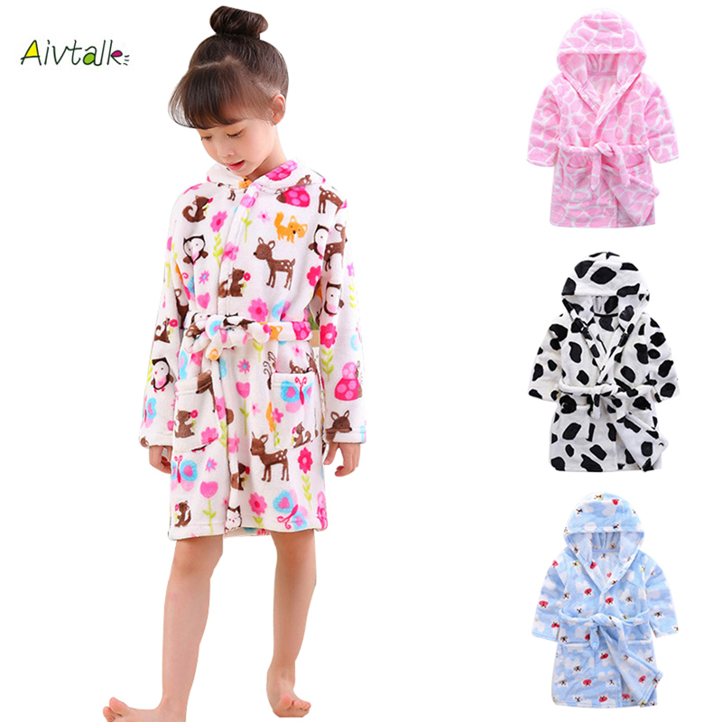 Aivtalk 2018 Children's Robes for 3-7Yrs Baby Kids Pajamas Boys Girls Cartoon Sleepwear Bathrobes Kids Hooded Soft Baby Clothes