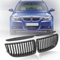 For BMW E90/E91 Sedan 4 Door 2005 2006 2007 2008 #51137120007 Pair Carbon Fiber Look Front Kidney Grill Grille