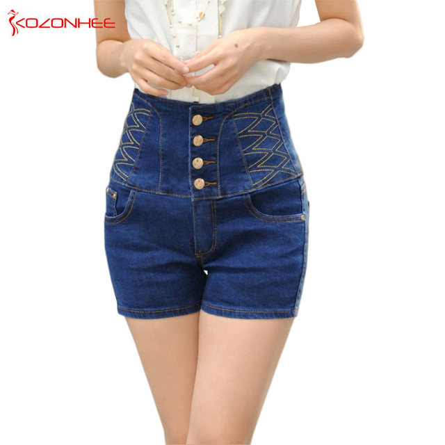 exceptional range of styles hot-selling clearance special price for US $18.0 20% OFF|Aliexpress.com : Buy Stretch Women Shorts Whit High Waist  Elasticity Bandage Corset waist Denim Shorts Sexy High Waist Summer Shorts  ...