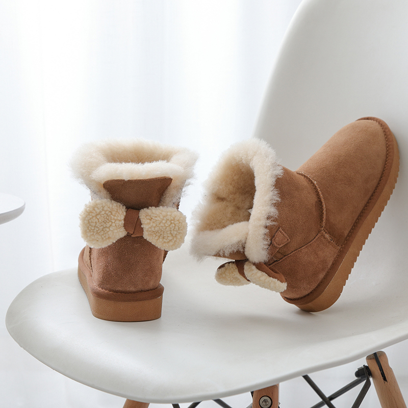 chestnutting Nouvelles Femme Femmes En Naturelle Top Chaud grey Mode Cheville Chaussures De 2019 Véritable Neige D'hiver Bottes Mouton Black 100Fourrure Qualité Peau Cuir rdoxWeCB