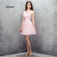 Setwell Cute Pink Mini Short Prom Dresses 2017 Sexy Halter Backless Prom Dress Handmade Beading