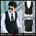 Men's Suit Formal Vest Casual Vest Slim Fit Luxury business Dress Waistcoat Vest for men with 3 buttons M-XXXL Free shipping