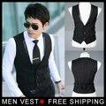 Terno Formal dos homens Vest Vest Casual Slim Fit negócios de Luxo vestido de Colete Colete para homens com 3 botões M-XXXL Livre grátis