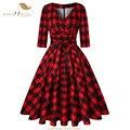 SISHION Cotone 50s Retro Swing Dress Vintage 3/4 Sleeve Plus Size Rosso Bianco Nero Delle Donne di Autunno Stampa Floreale Plaid vestito SD0006