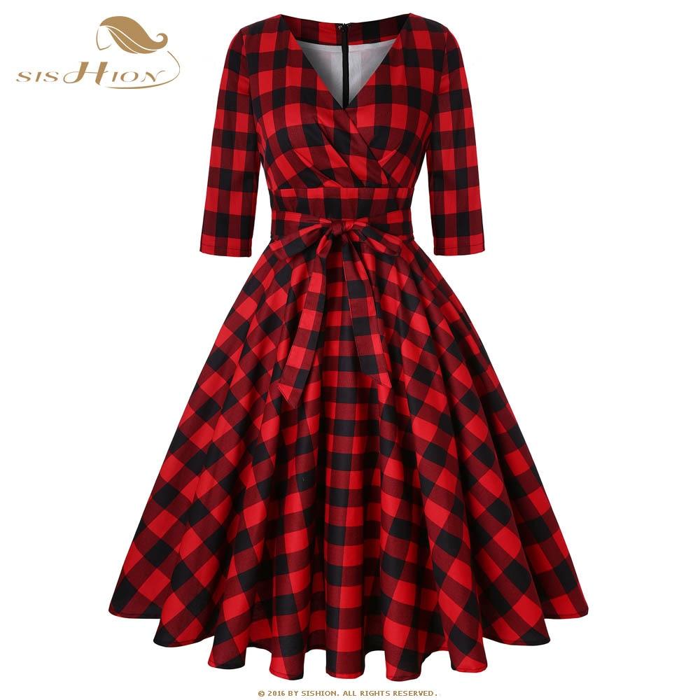 SISHION Cotton 50s Retro Swing Vintage Dress 3/4 Sleeve Plus Size Red White Black Women Autumn Floral Print Plaid Dress SD0006