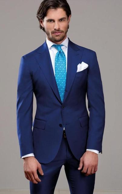 Dernières Manteau Pantalon Designs Formelle Maigre Marine Costume Bleu  Hommes De Mariage marié Veste De Bal 4076ec702fc