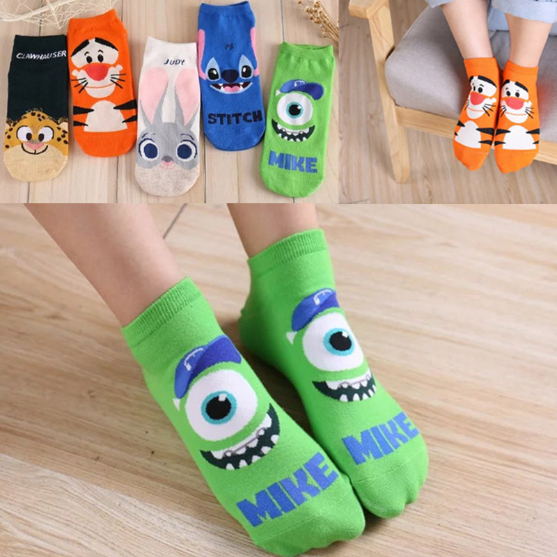 Lionzone New Cartoon Ladies   Socks   Crazed Animal Judy Rabbit Nick Stitch Clawhauser Stitch Mr.Q Tigger Women   Socks