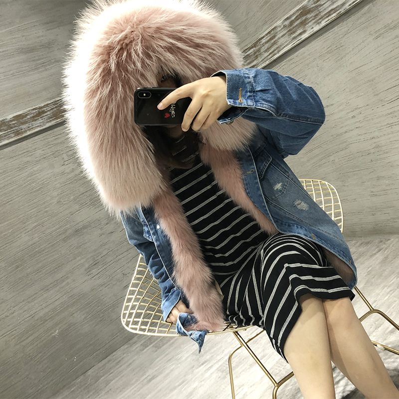 Real fox fur liner coat women warm winter fox fur coats natural raccoon fur collar hooded jean parka detachable liner plus size