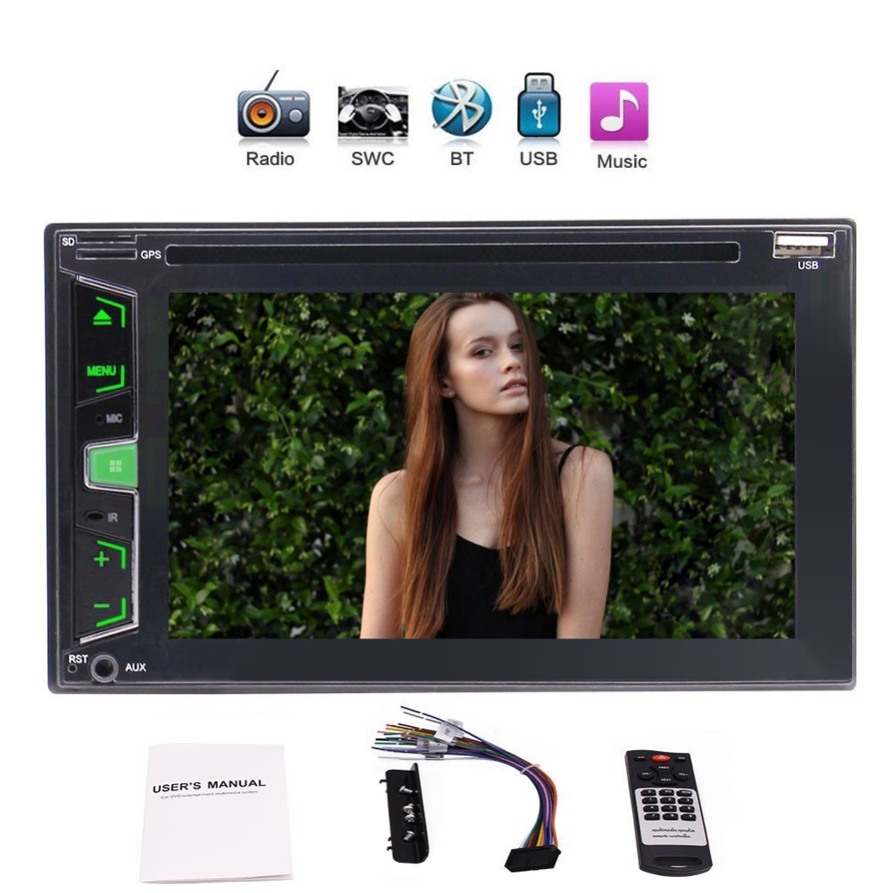 Double 2 Din Car Stereo In-Dash Headunit Car DVD Player 6.2 FM AM RDS Radio Dual TF Card Slot 1080P USB AUX SWC Remote Control 1din car headunit fix panel car stereo car cd dvd player 1din usb sd fm aux in car radio player mp3 single din detachable panel