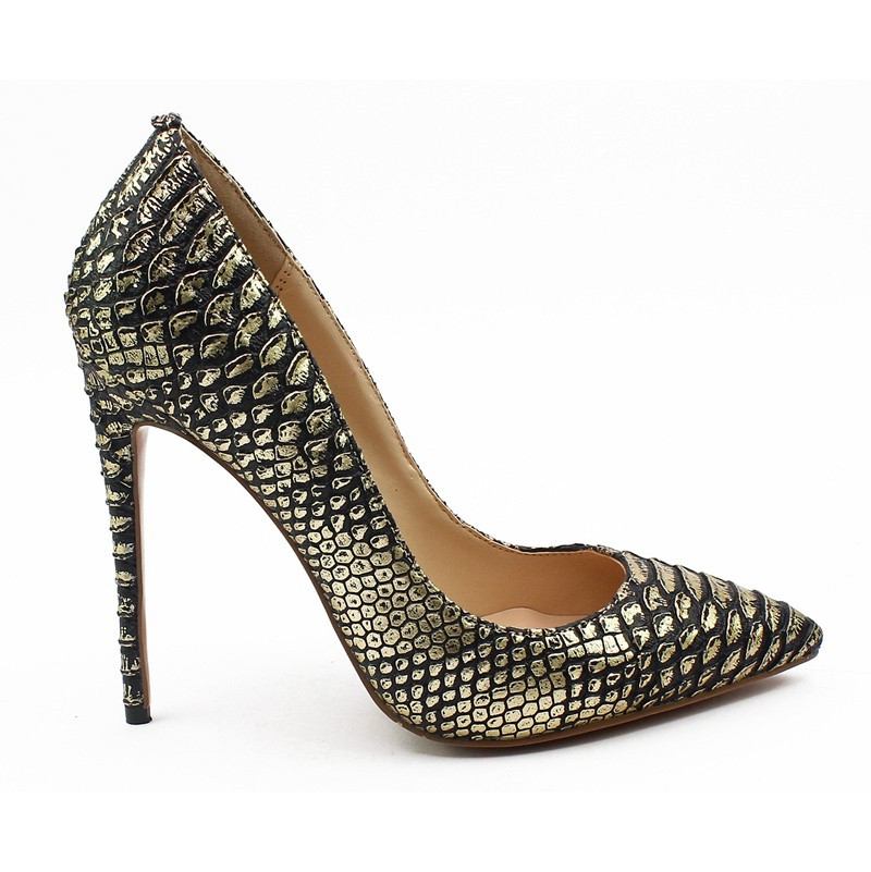 eddcd73e6a8e New Brand Women Black Snakeskin Leather Thin High Heel Dress Shoes  Celebrity Party Pumps Female Wedding Heels Big Size C010C-in Women s Pumps  from Shoes on ...
