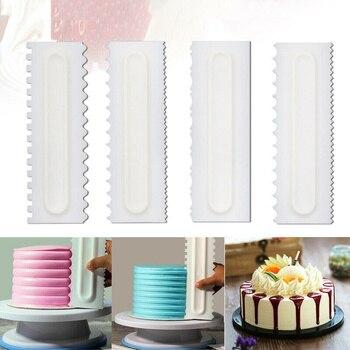 4 unids/set peine de decoración de pasteles glaseado raspador de torta suave pastelería 6 texturas de diseño herramientas de horneado para herramienta para Tartas de cocina Dropship