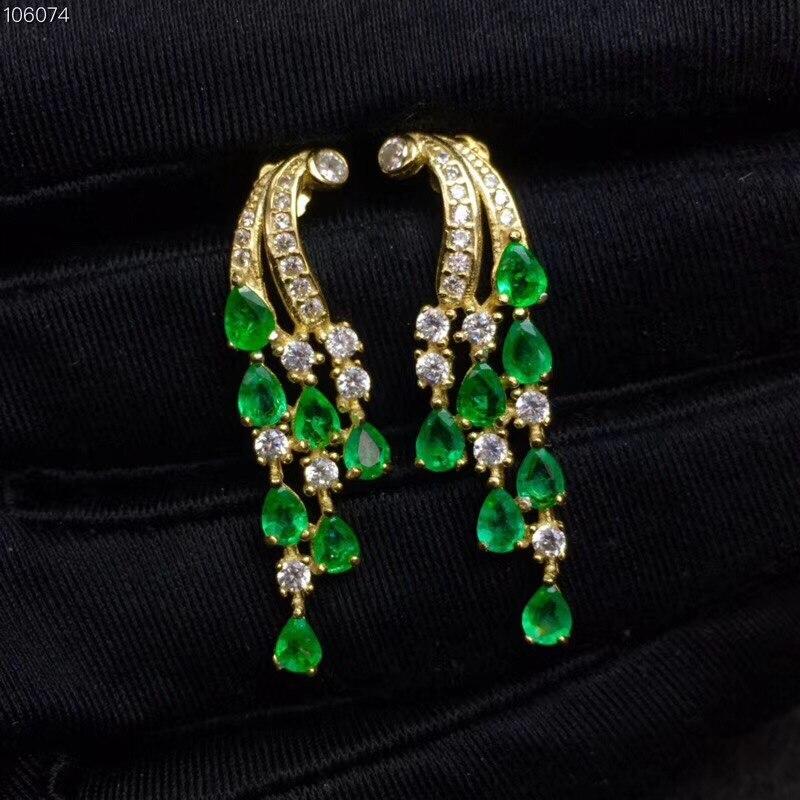 2019 new Solid 925 Sterling Silver Green Emerald Jewelry for Women Wedding Drop Earrings