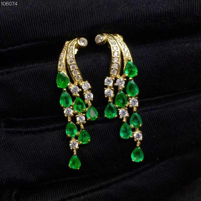 2019 new Solid 925 Sterling Silver Green Emerald Jewelry for Women Wedding Drop Earrings