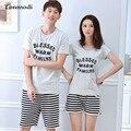 Женские пижамы Летом Хлопка С Коротким рукавом Любовь Мужчины пижамы Мода Сна Женская Пара Пижамы Одежда Пижамы Набор