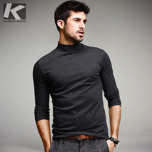 KUEGOU Mens Casual T Shirts 5 Solid Color Brand Clothing For Man's Long Sleeve Slim T-Shirts Male Wear Plus Size Tops Tees 803