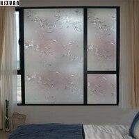 Decor venster privacy film zonnebrandcrème papier 70x100 cm 3D bloemen zelfklevende geen lijm statische glas raamsticker Hsxuanbrand700621