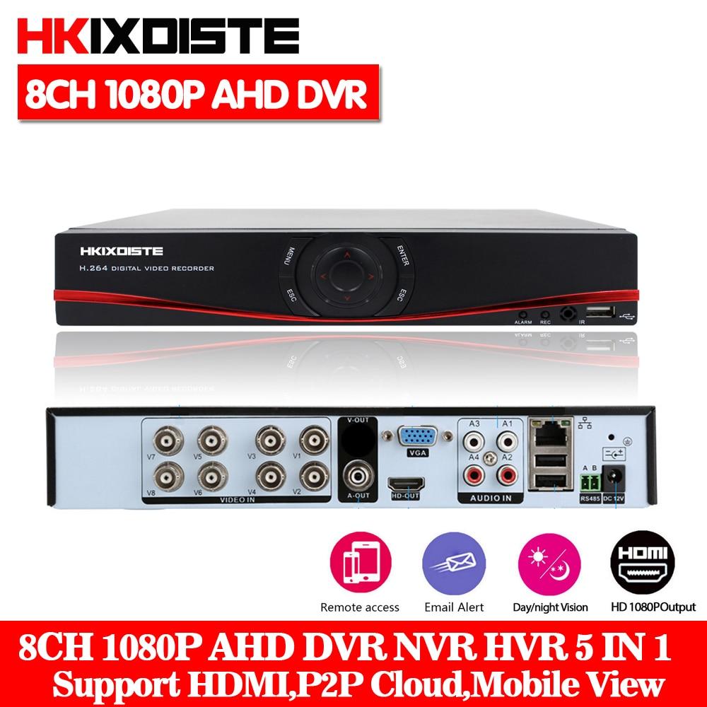 HKIXDISTE AHD 8CH 1080P DVR System ONVIF mini NVR 8CH 5 in 1 TVI CVI AHD IP HDMI H.264 P2P Cloud network CCTV 1080N 8CH AHD DVR new 8ch