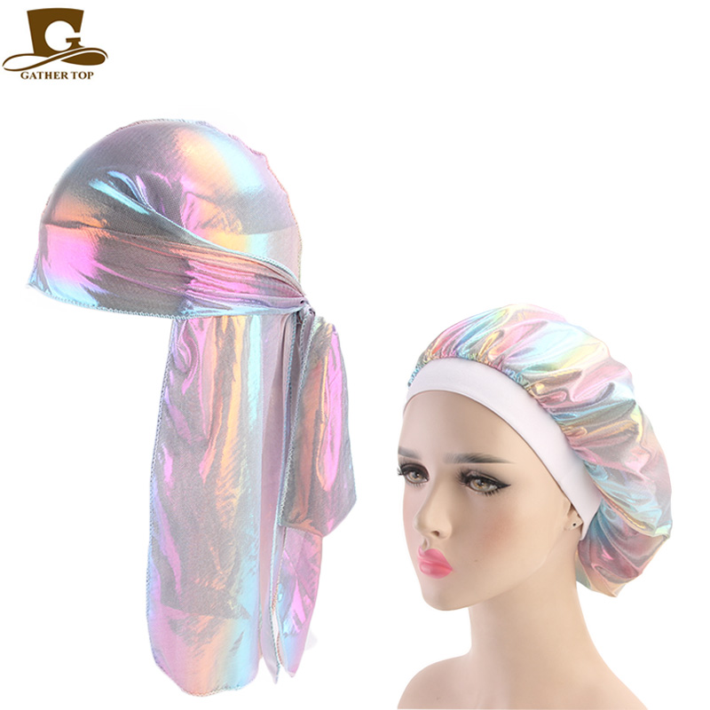 Fashion Men's Sparkly Silk Durag Bandana Headwear Colorful Wide Doo Rag Bonnet Polyester Cap Comfortable Sleeping Hat