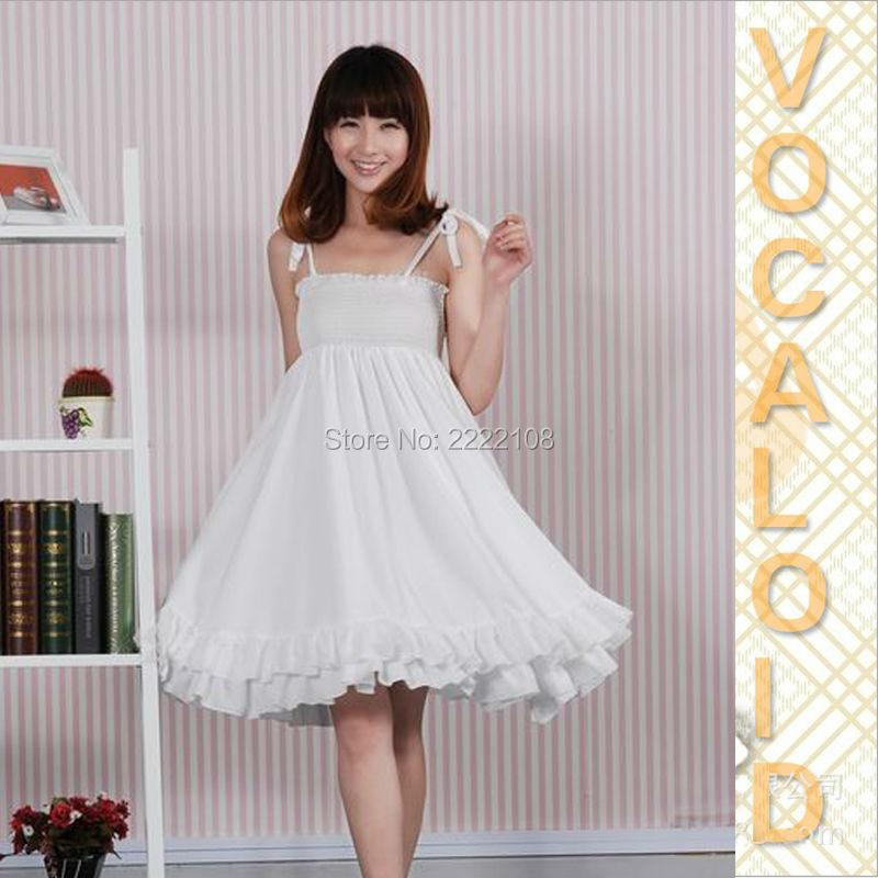 Anime Vocaloid RUKA Megurine JBF white One-piece dress VOCALOID Ruka Cosplay Costume Kawaii Hatsune Miku Dress Halloween Costume