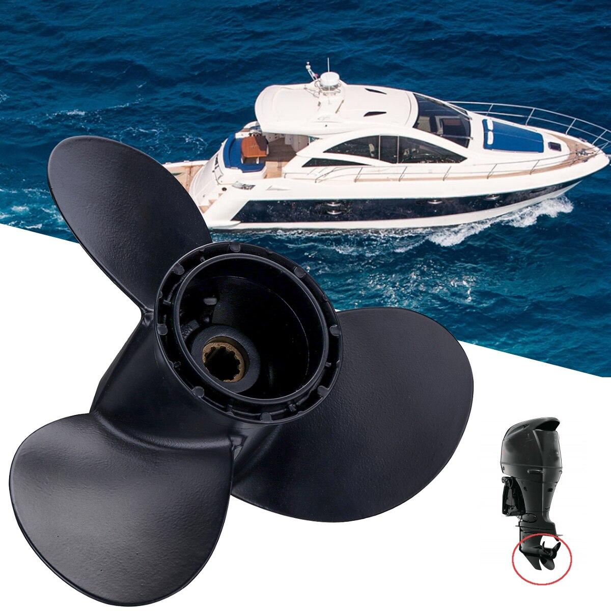 58100-96430-019 Bateau Hors-Bord Hélice pour Suzuki 20-30HP 260mm x 12 En Alliage D'aluminium 3 Lames 10 spline Dents de Noir R Rotation