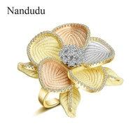 Nandudu Fashion AAA Cubic Zircon Flower Ring for Women 3 Tones Gold Open Cuff Wedding CZ Rings Gift Elegant Jewelry R2061