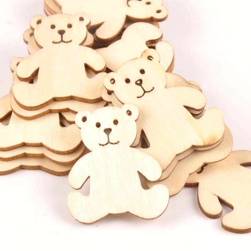 10pcs 41x48mm Bear Pattern Wood DIY Crafts Scrapbook DIY For Home Decor Natural Wooden Ornaments Accessories Embellishment M1757