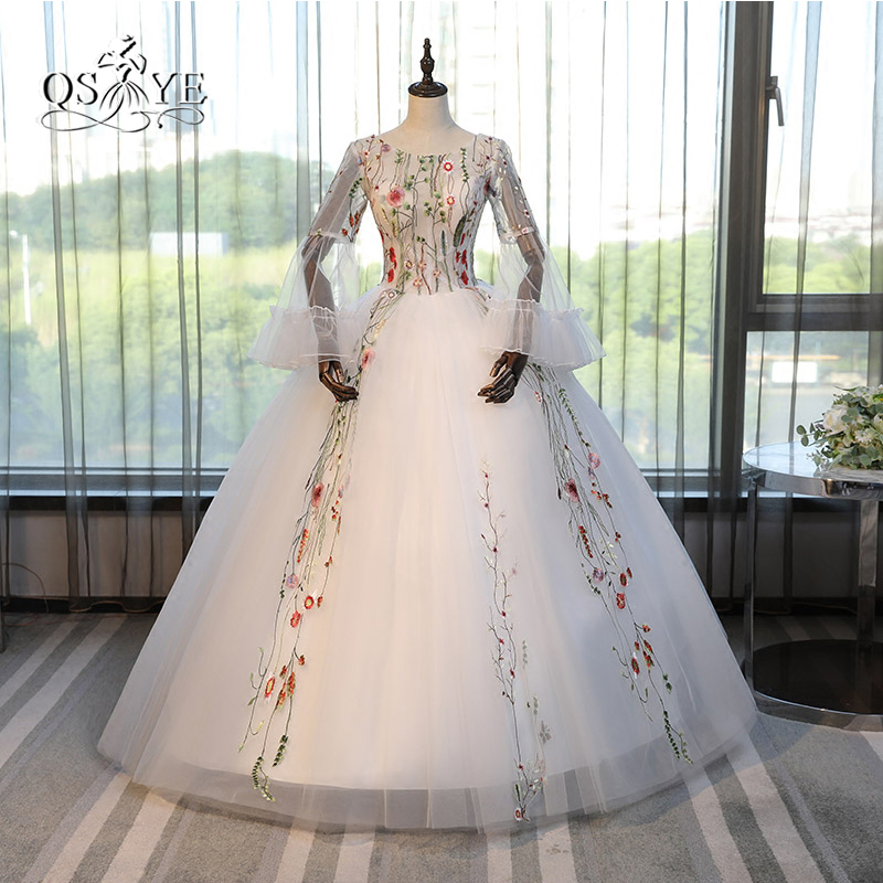 Vintage Saudi Arabia 3D Floral Lace Prom Dresses 2017 Ball Gown Long Sleeve Floor Length Tulle Formal Evening Party Gowns