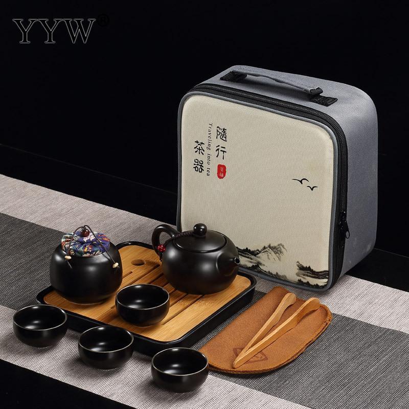 Céramique Puer thé ensembles 3 couleurs thé cérémonie cadeau argile théières accessoires Teaware Celadon thé plateau ensemble élégant Drinkware