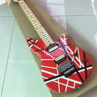 Grote Floyd rose and Zebra pickup,High Quality Custom Shop Electric Guitar in red white line wholesales