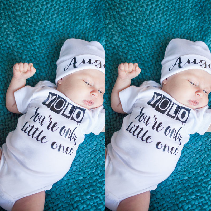 Newborn Kids Baby Boy Girls Tops Clothing White Letter Infant Quote Bodysuit Cotton Jumpsuit Outfit Clothes 1