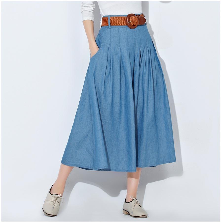 lastique grande taille taille longue jean jupes femmes denim jupes filles boh me pliss e jupe