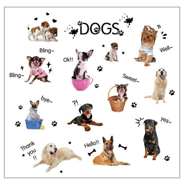 PUPPIES Dog Pet Shop Wall Sticker PVC Vinyl Quotes Decal Mural Art Lovely Cute Animals For