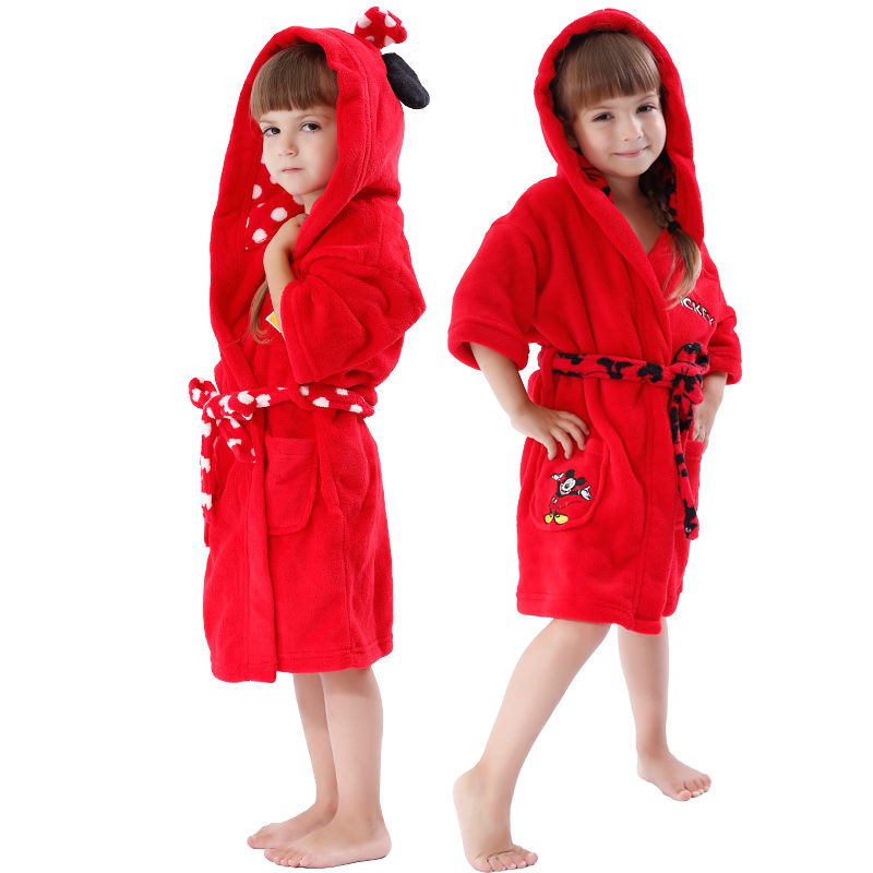 Aliexpress.com : Buy Kids Bathrobe Coral Fleece Red Mickey Minnie ...